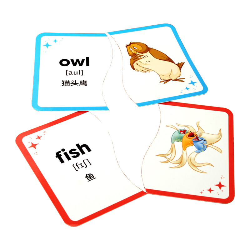 这是一套分类学习英语单词的卡片,共有动物,食物,生活用品,玩具和
