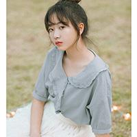 茵曼年轻文艺风夏装新品荷叶领复古中袖衬衫女法式衬衣气质