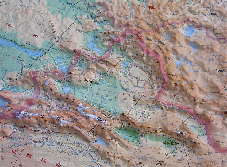 中国地图立体地形图 1.1米x0