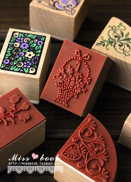 古典边角花边套装 韩国文具可爱印章组 7枚印章 2印泥笔