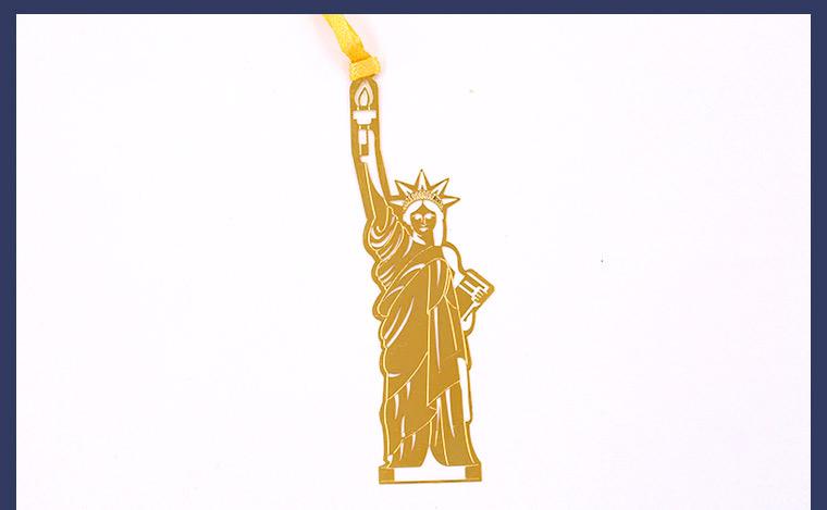 世界著名建筑系列书签 当当自营 美国自由女神 黄铜材质 镂空创意高档